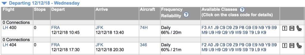 Buchungsklassen Lufthansa Expertflyer
