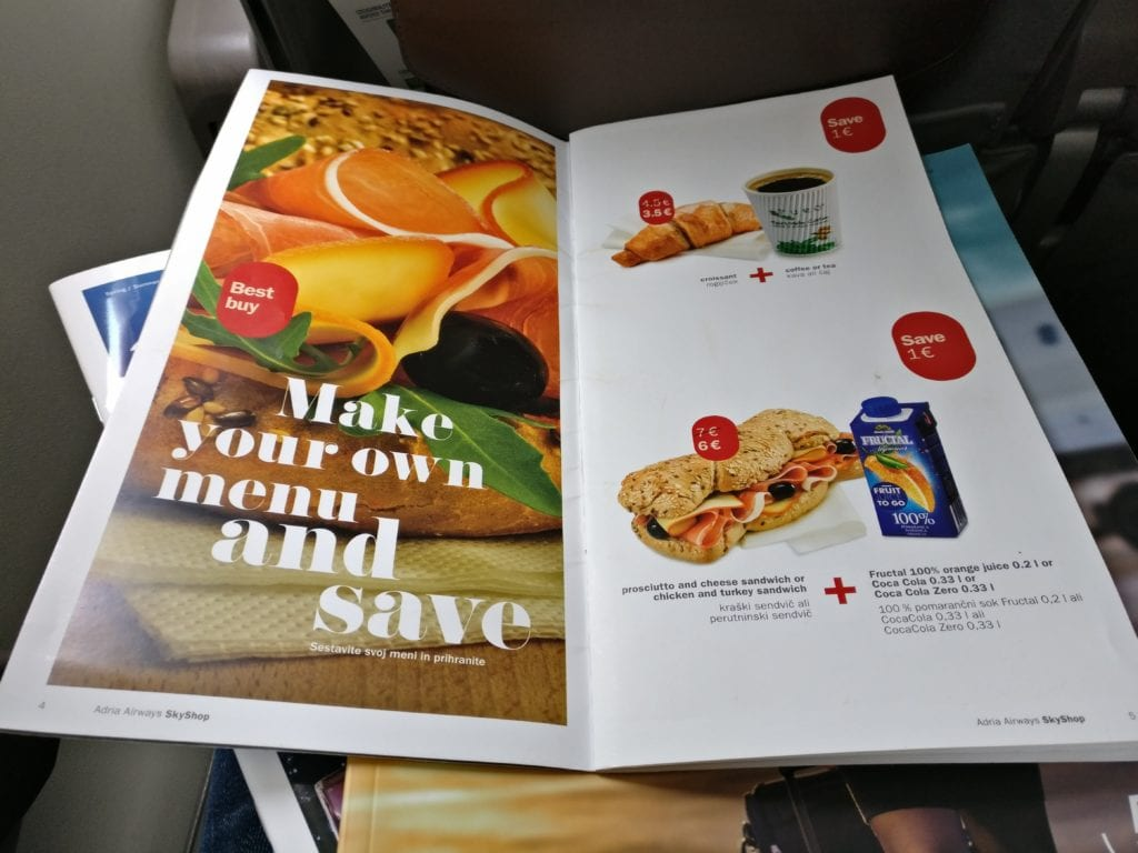 Adria Airways Economy Class Menu