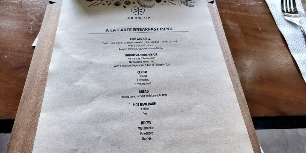 L Hotel Seminyak Frühstück Menü