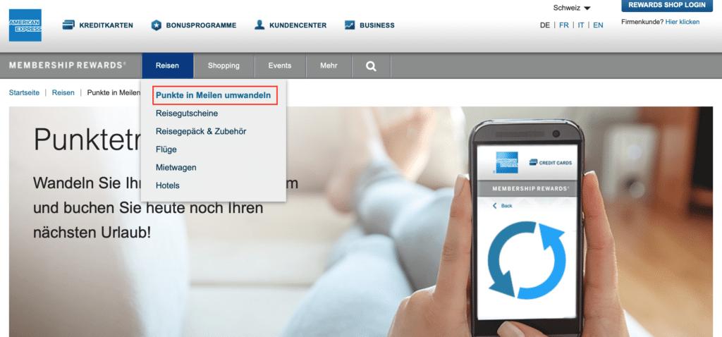 Amex Shop Schweiz Punktetransfer