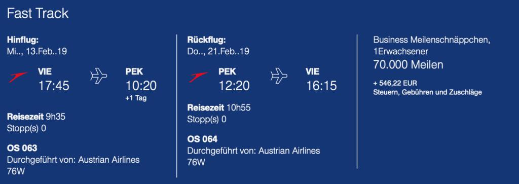 Austrian Meilenschnaeppchen Januar 2019 Peking