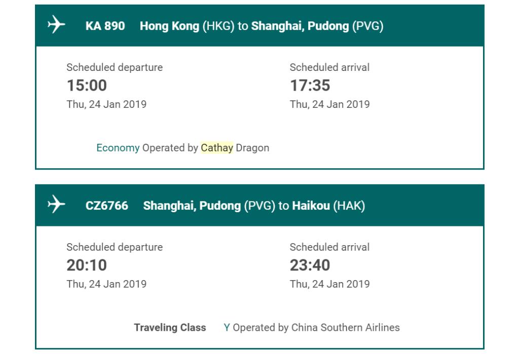 Cathay Pacific Umbuchung