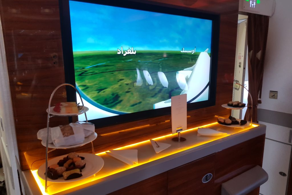 Emirates Business Class Airbus A380 Bar TV