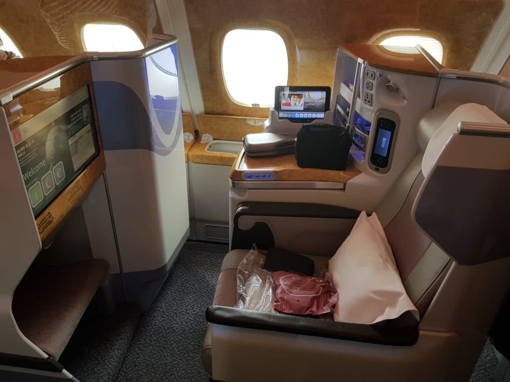 Emirates Business Class Airbus A380 Fensterplatz