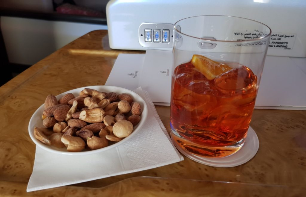 Emirates Business Class Airbus A380 Negroni