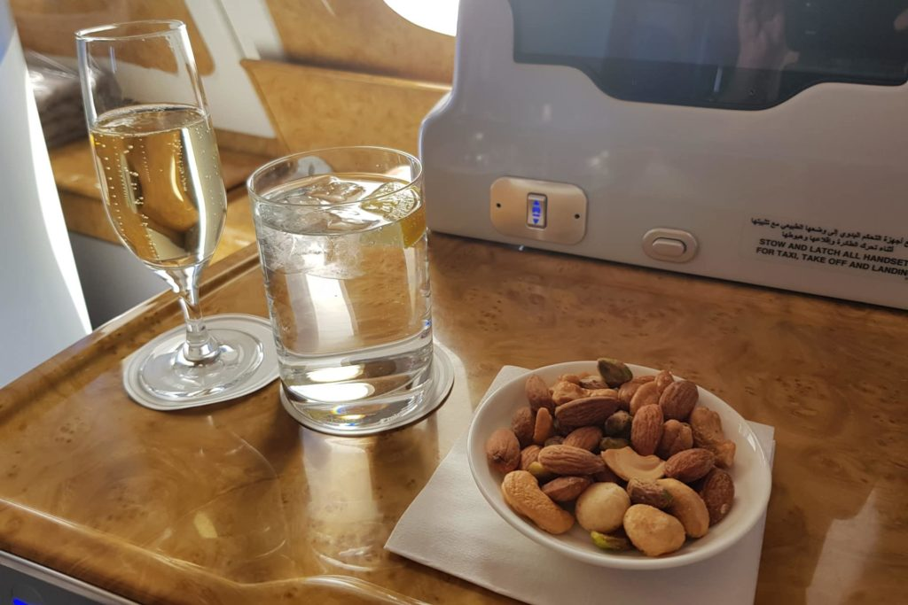 Emirates Business Class Airbus A380 Welcome Drink