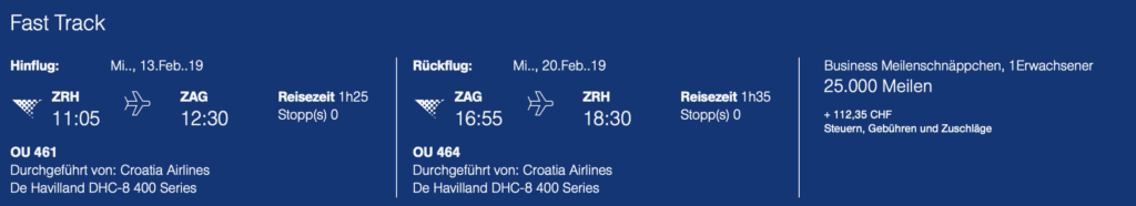 Meilenschnäppchen Croatia ZRH ZAG