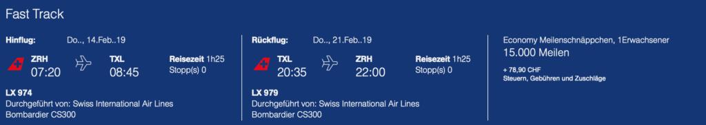 Meilenschnäppchen Swiss ZRH TXL
