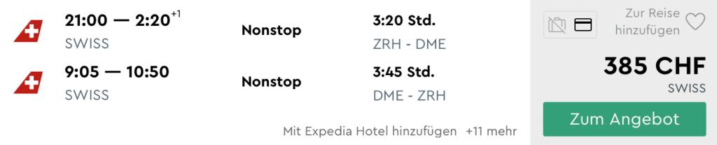 Momondo Swiss ZRH DME