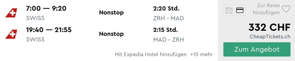 Momondo Swiss ZRH MAD