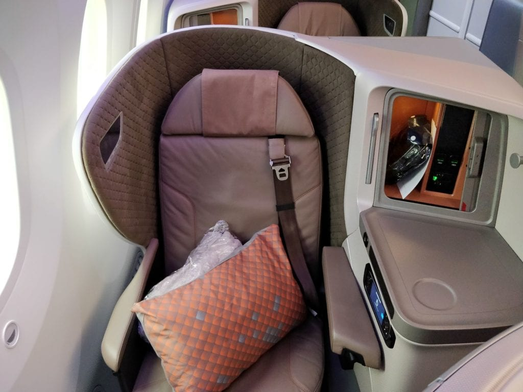 Singapore Airlines Business Class Boeing 787 10 Sitz 4