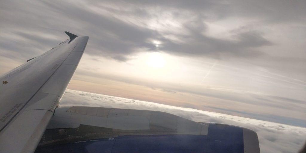 Sonnenuntergang Himmel Flugzeug Flügel British Airways