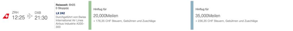 Swiss ZRH DXB