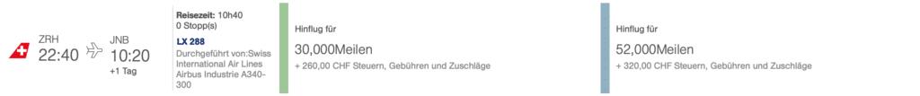 Swiss ZRH JNB