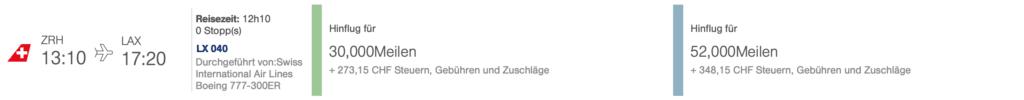 Swiss ZRH LAX