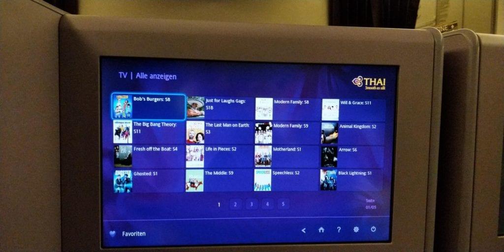 Thai Airways Business Class Boeing 777 Entertainment 2