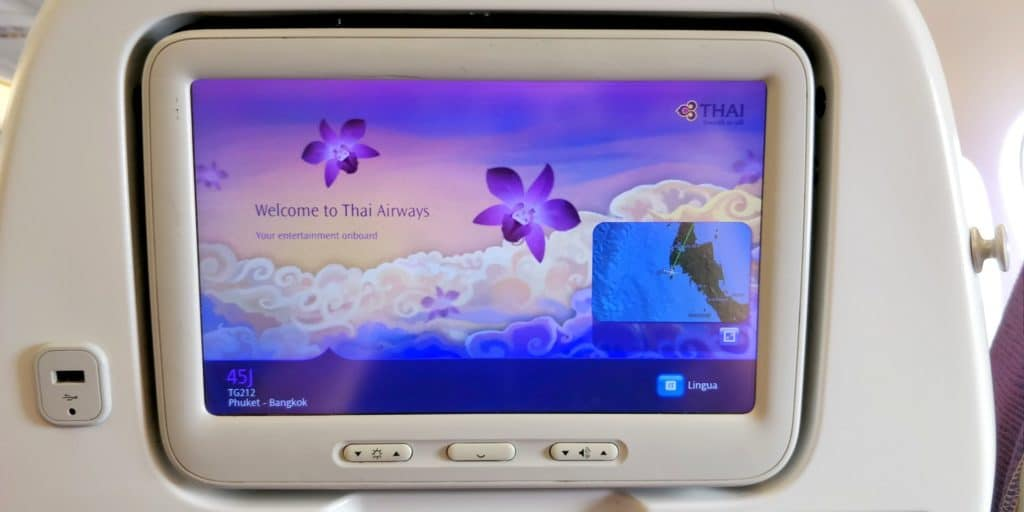 Thai Airways Economy Class Kurzstrecke Entertainment