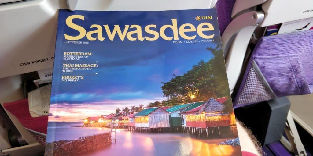 Thai Airways Economy Class Kurzstrecke Magazin