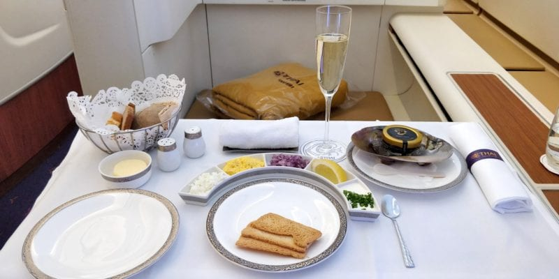 Thai Airways First Class Airbus A380 Kaviar