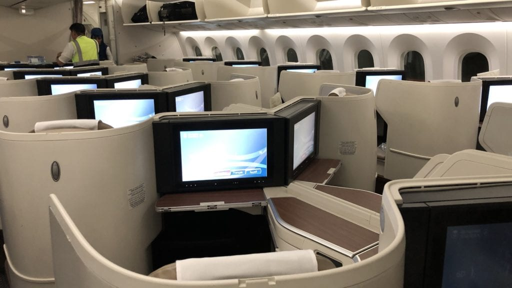 Saudia Business Class Boeing 787 Kabine Hinten