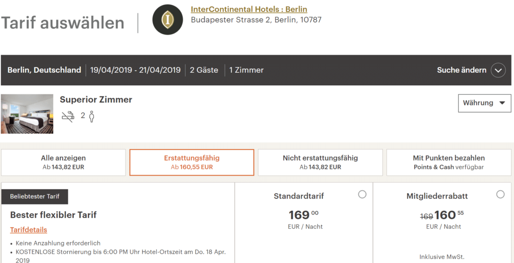 InterContinental Berlin Buchung