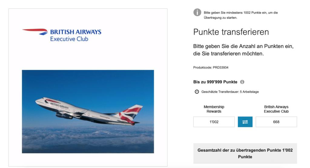 Punktetransfer Amex British Schweiz