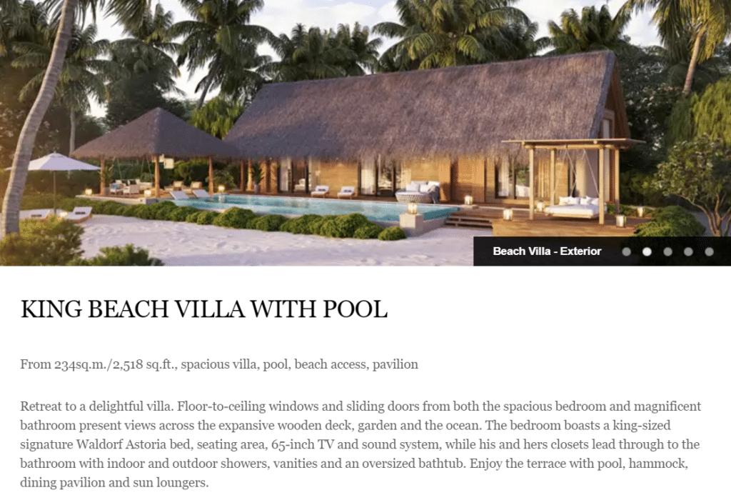 Waldorf Astoria Maldives King Beach Villa