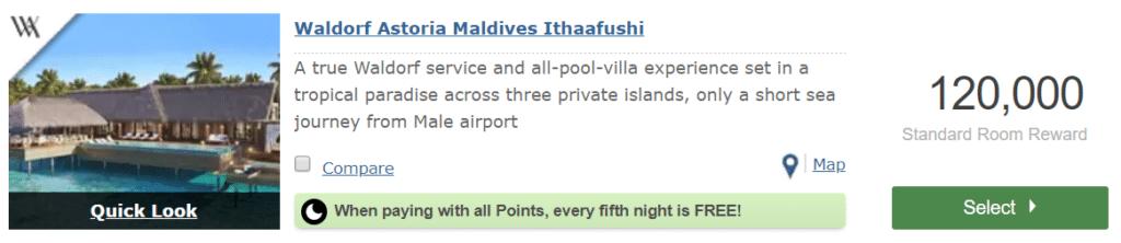 Waldorf Astoria Maldives Punkte