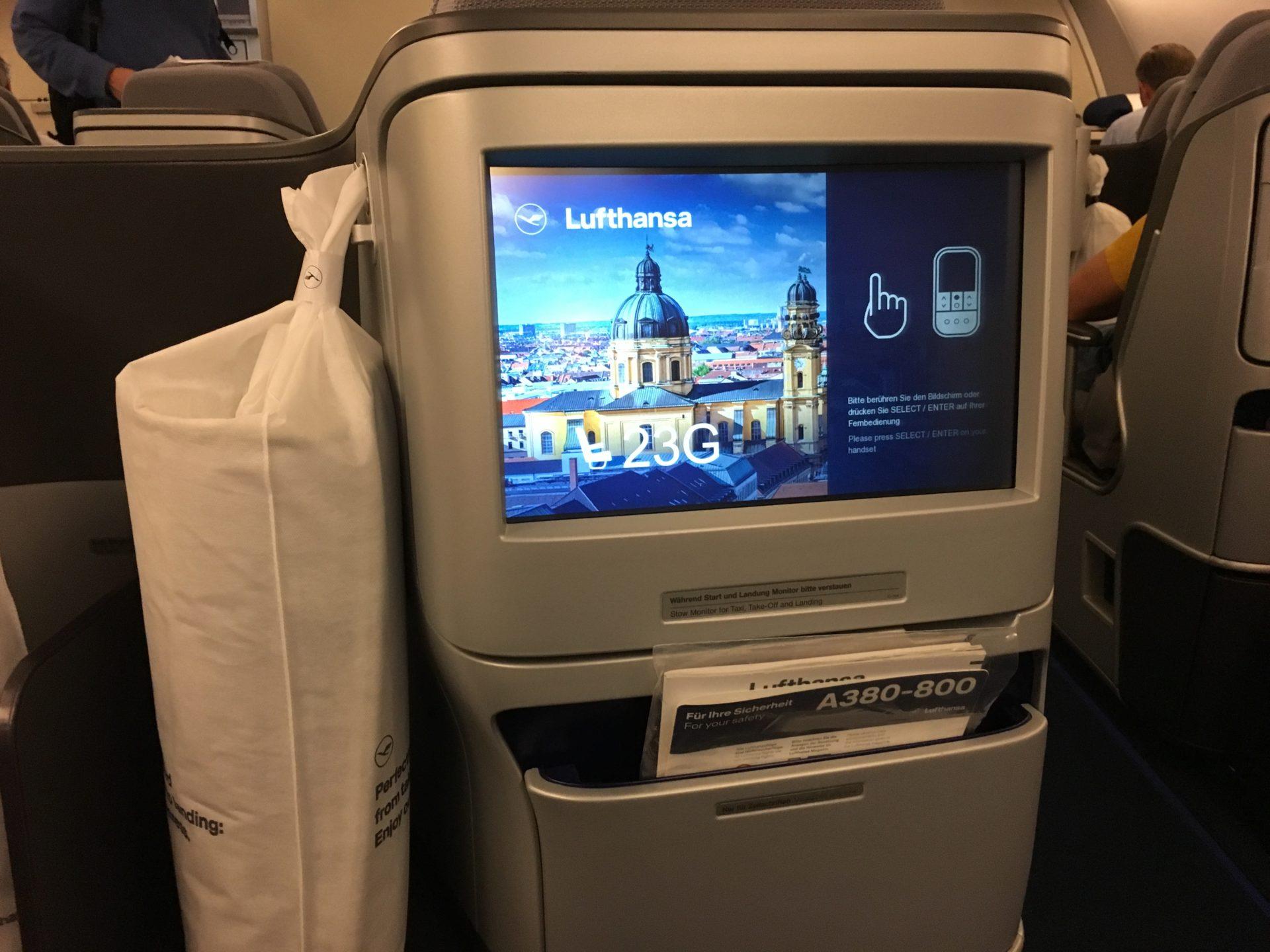 Lufthansa Business Class Airbus A380 Bildschirm