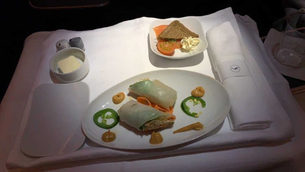 Lufthansa Business Class Airbus A380 Vorspeise