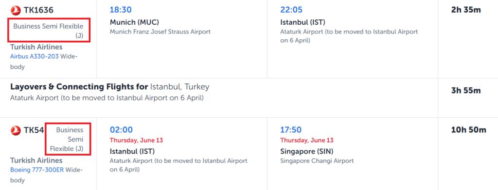 Turkish Airlines Buchungsklasse