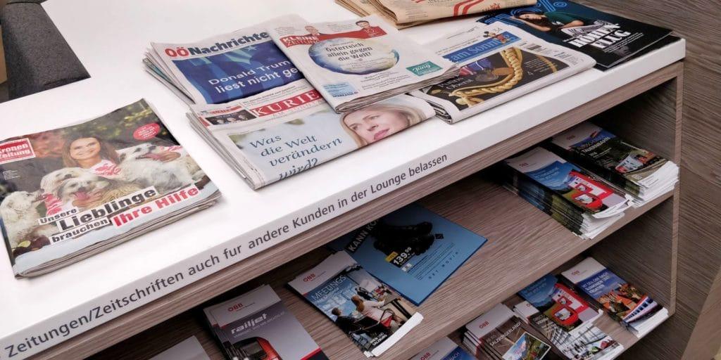 ÖBB Lounge Wien Zeitungen