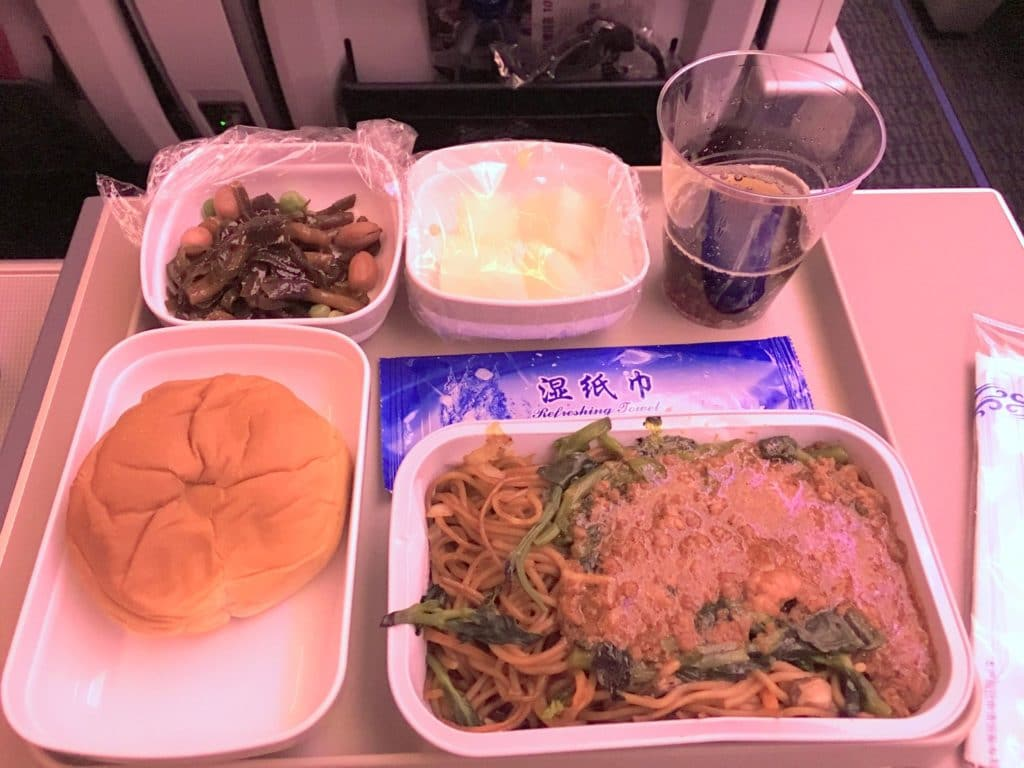Air China Premium Economy Class Abendessen