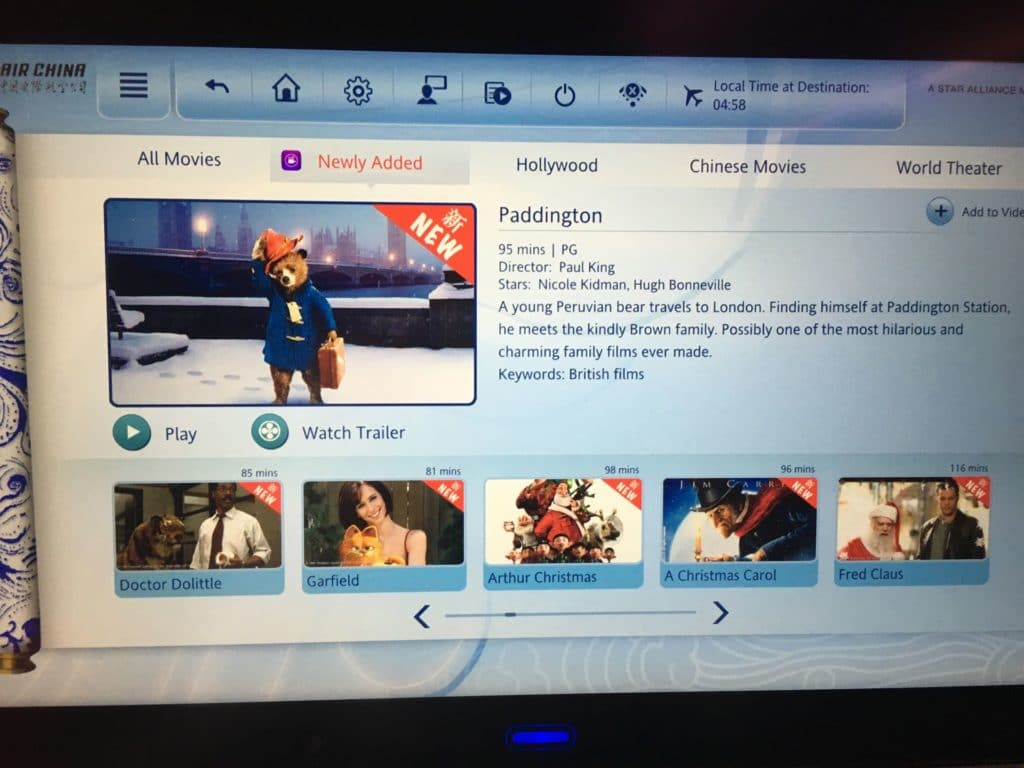Air China Premium Economy Class Entertainment
