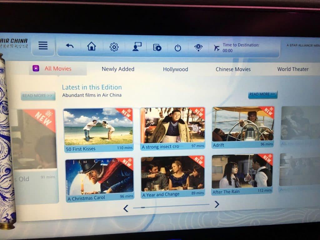 Air China Premium Economy Class Entertainment 3