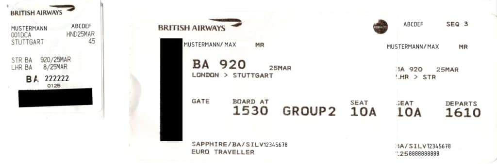 Boarding Pass Bordkarte British Airways BA Flugnummer