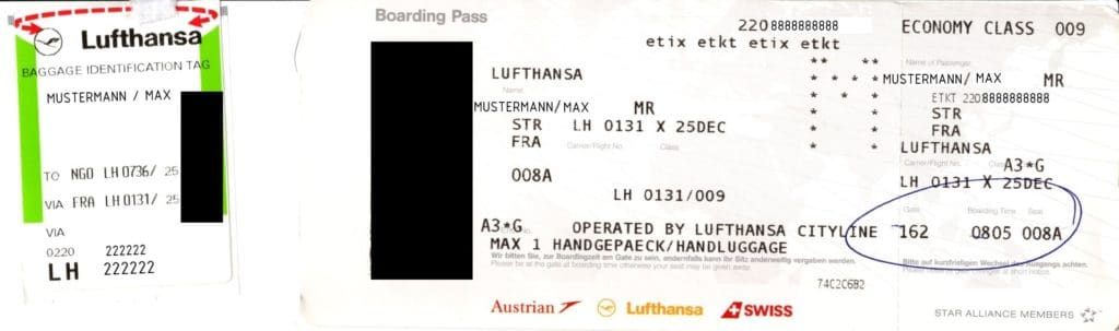 Boarding Pass Bordkarte Lufthansa LH e-ticket etkt etix