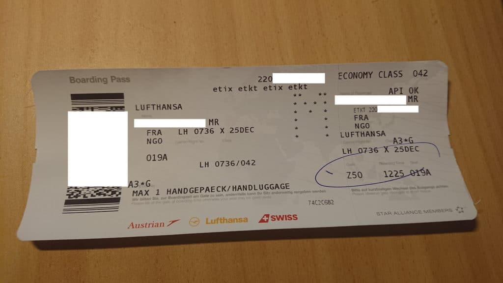Bordkarte Ticket etkt etix Boarding pass