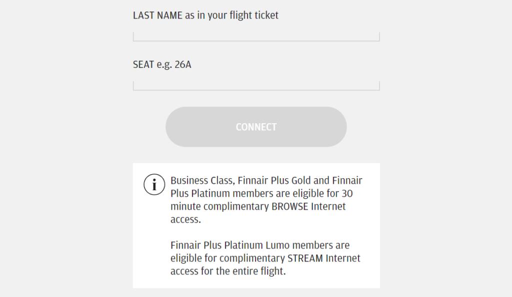 Finnair Complimentary Internet