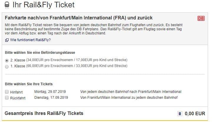 Rail & Fly Buchung Lufthansa 2