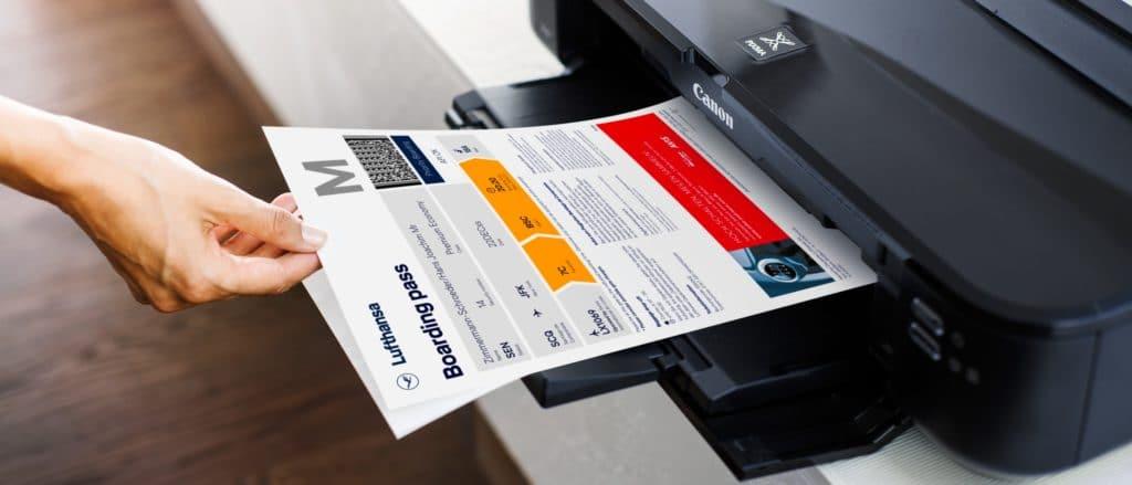 Lufthansa Bordkarte drucken E-Ticket etkt etix