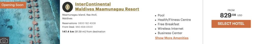 Intercontinental Resort Malediven 5 für 4