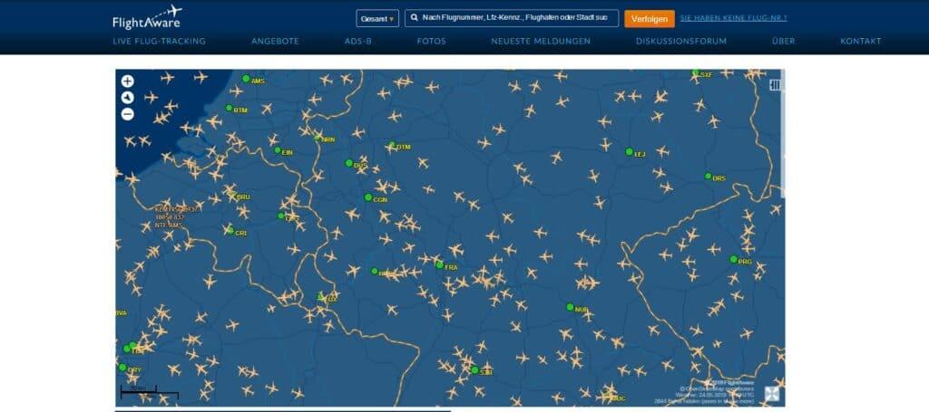 FlightAware Kartenannsciht