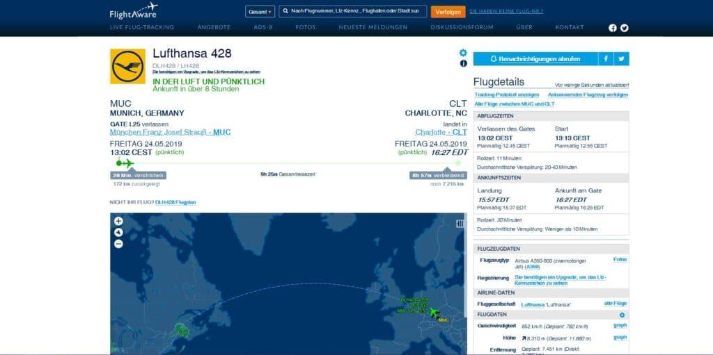 Flightaware Flugverfolgung Flugnummer