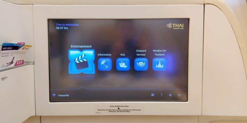 Thai Airways First Class Airbus A380 Entertainment