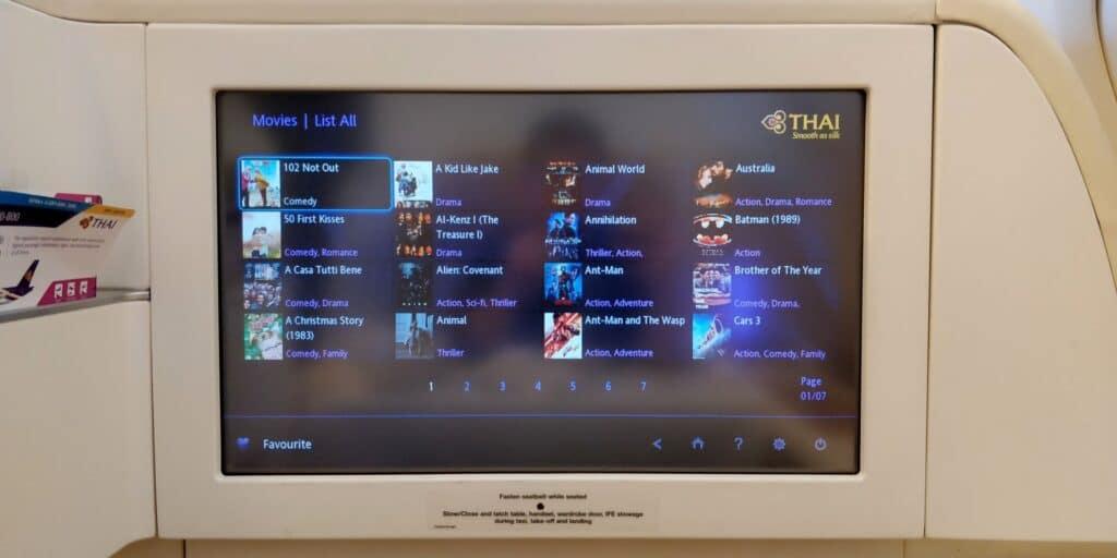 Thai Airways First Class Airbus A380 Entertainment 2