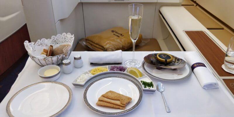 Thai Airways First Class Airbus A380 Kaviar