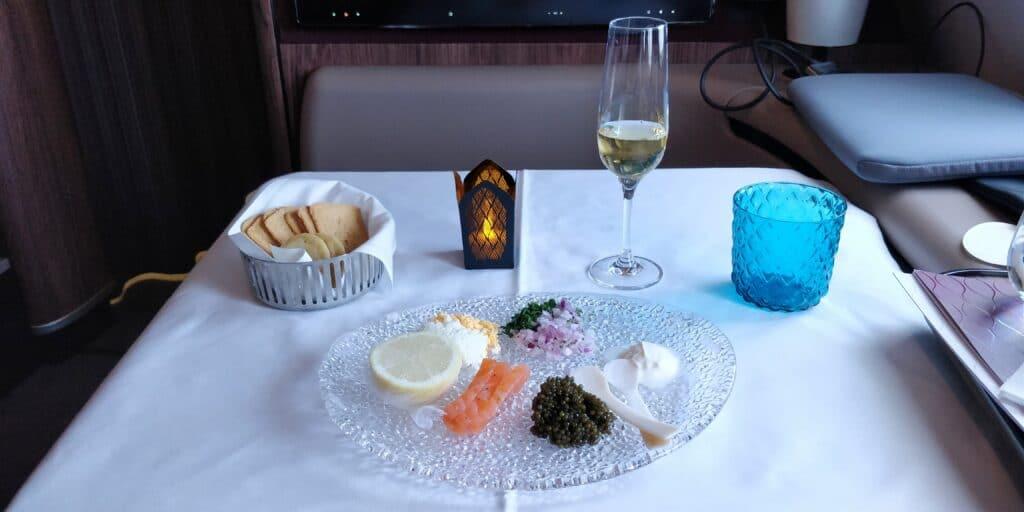 Qatar Airways First Class Kaviar