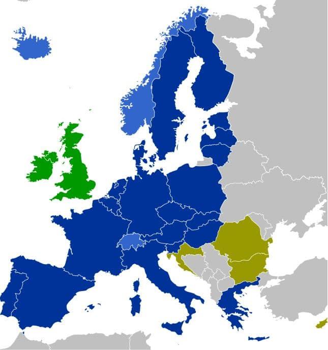 Schengen Länder EU Europa