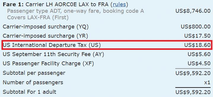 US International Departure Tax